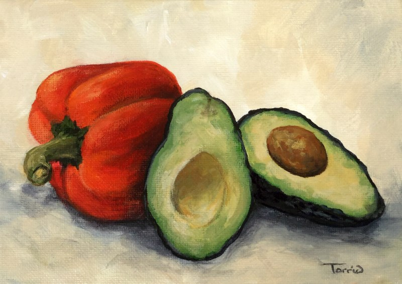 """Avocado with Bell Pepper II"" original fine art by Torrie Smiley"
