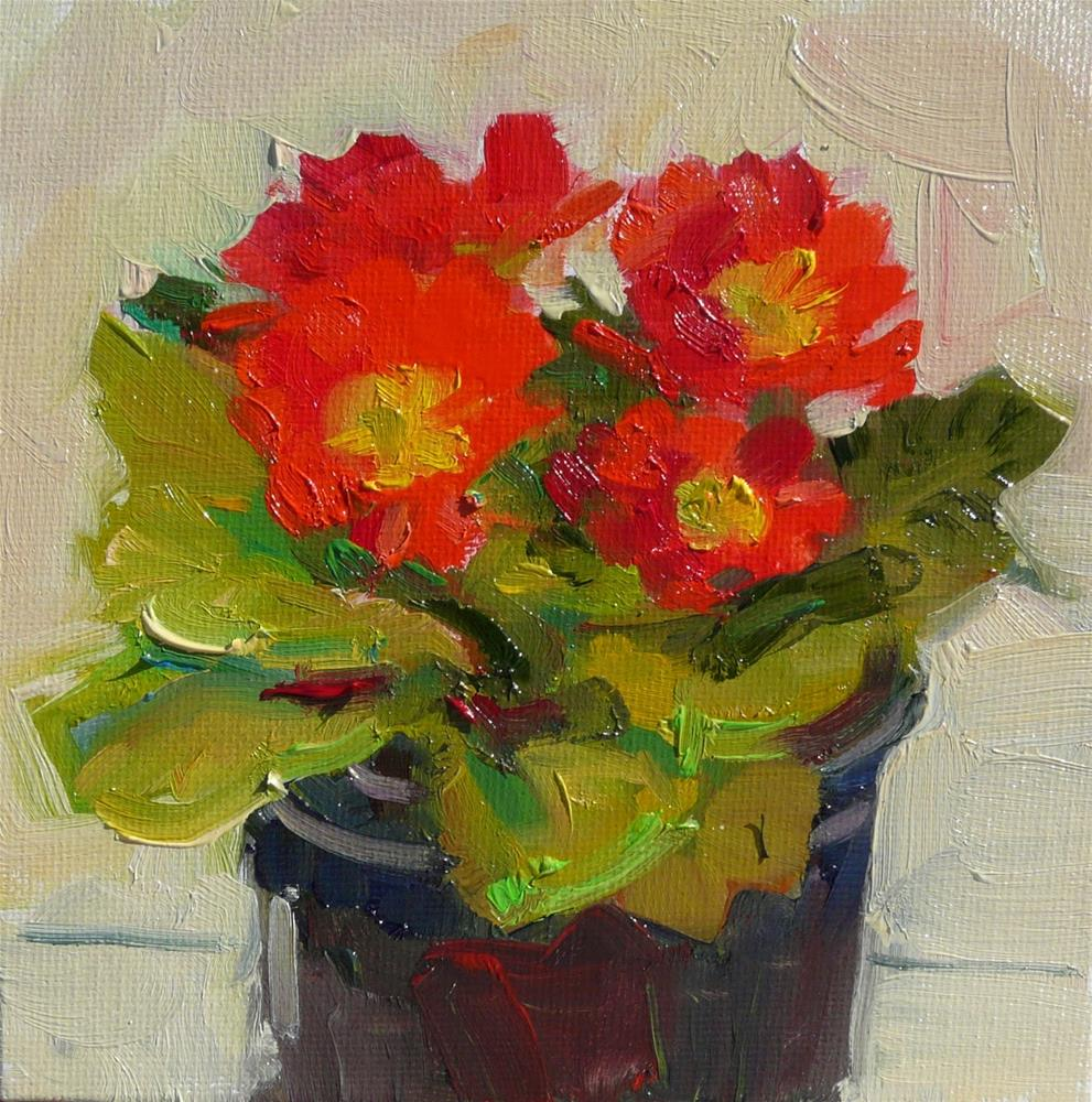 """Another Primrose,still life,oil on canvas,6x6,price$200"" original fine art by Joy Olney"