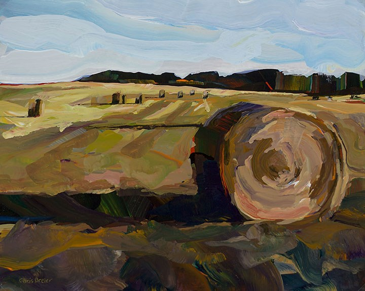 """Hay Bales"" original fine art by Chris Breier"
