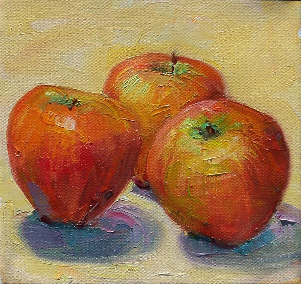 """Late Garden Apples,still life, oil on canvas,6x6,price$200"" original fine art by Joy Olney"