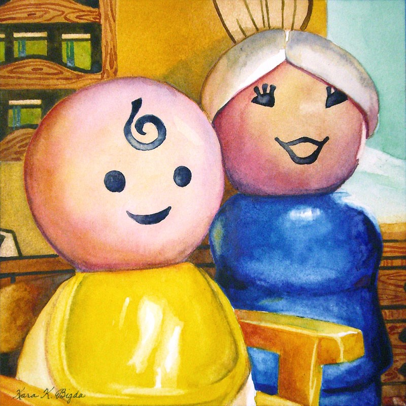 """Grandma And The Baby"" original fine art by Kara K. Bigda"