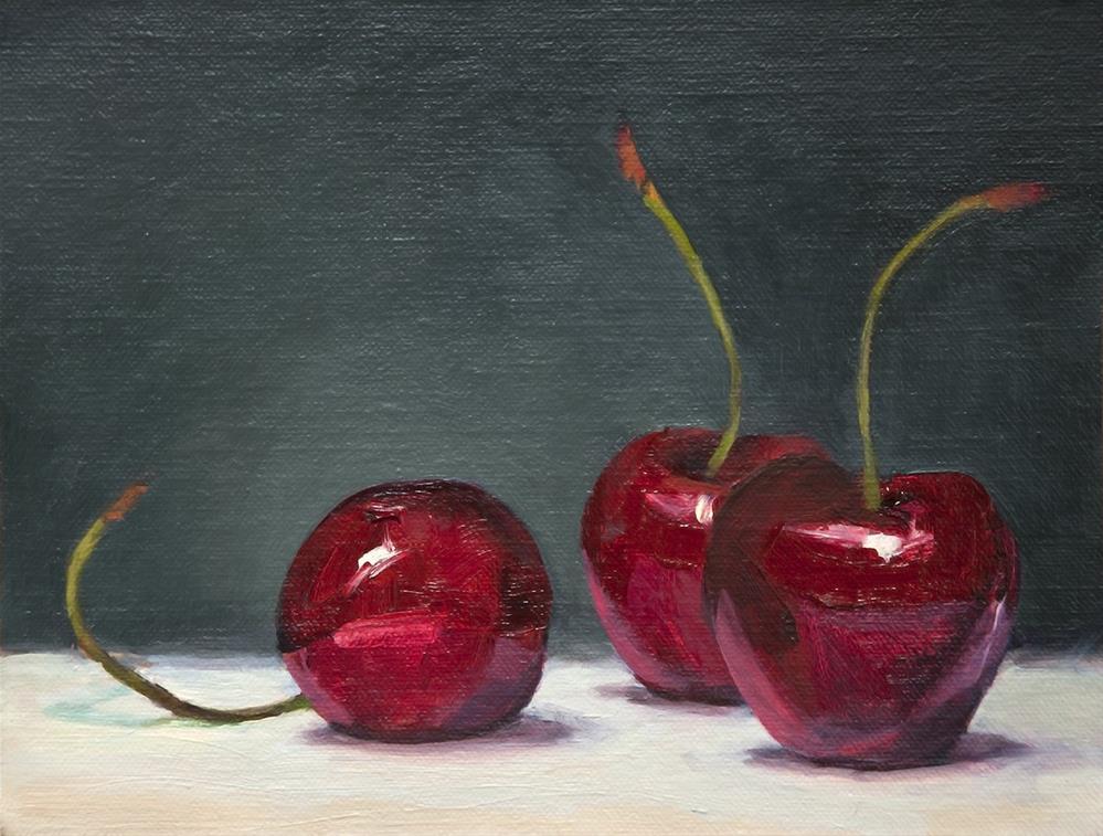 """Cherries"" original fine art by Miriam Hill"