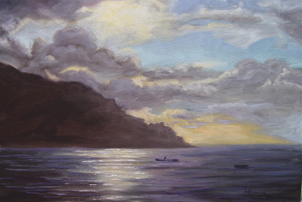 """Sunset on the Amalfi Coast"" original fine art by Lina Ferrara"