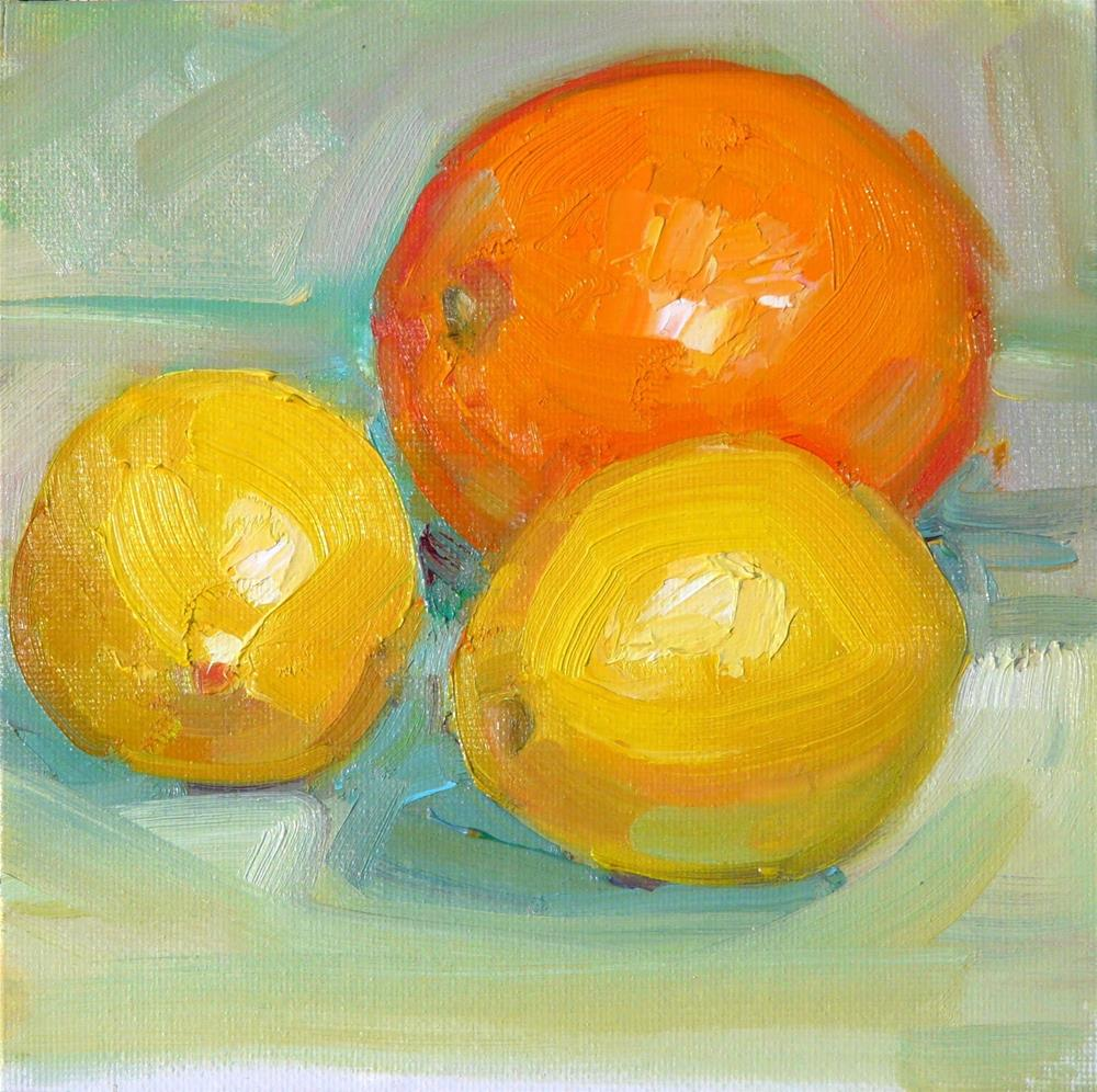 """Two Lemons and an Orange,still life,oil on canvas,6x6,price$200"" original fine art by Joy Olney"