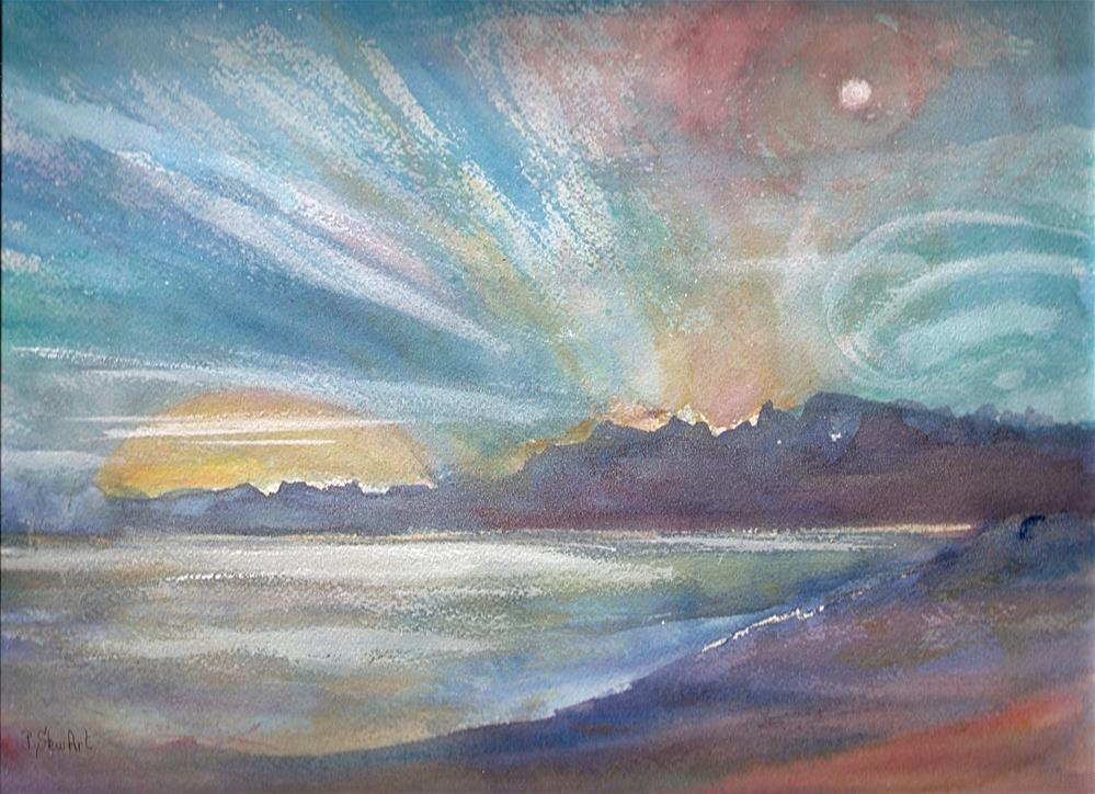 """""""9x12 Skyscape Moon Sun Clouds Stars Water Out of this World Penny Lee StewArt"""" original fine art by Penny Lee StewArt"""