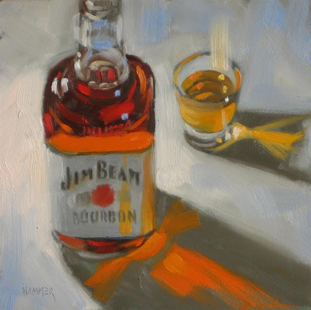 """Jim Beam white label 6x6 oil"" original fine art by Claudia Hammer"