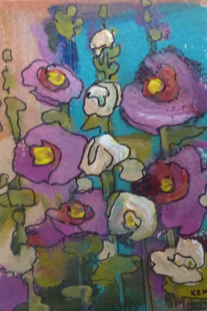 """""""Hollyhocks III"""" original fine art by Karen Margulis"""