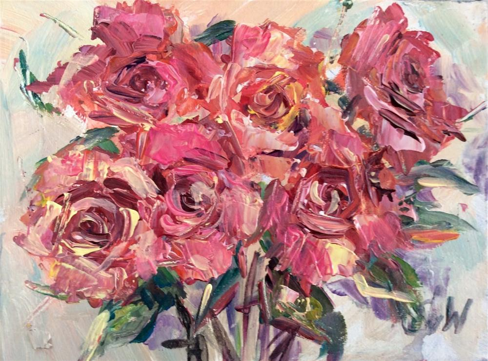"""""""Hot pink roses"""" original fine art by Sonia von Walter"""