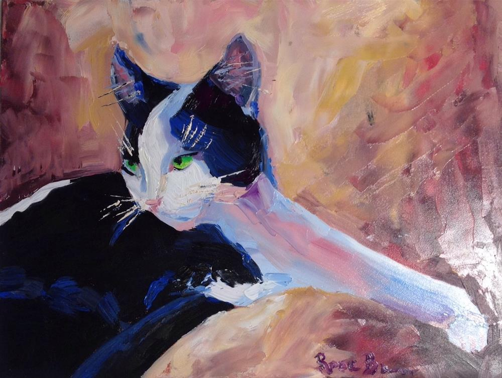 """""""The Tuxedo Cat"""" original fine art by Rose Brenner"""