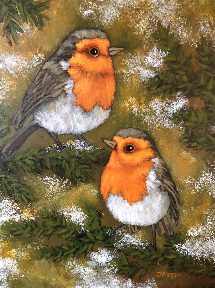 """Robins, winter"" original fine art by Inese Poga"