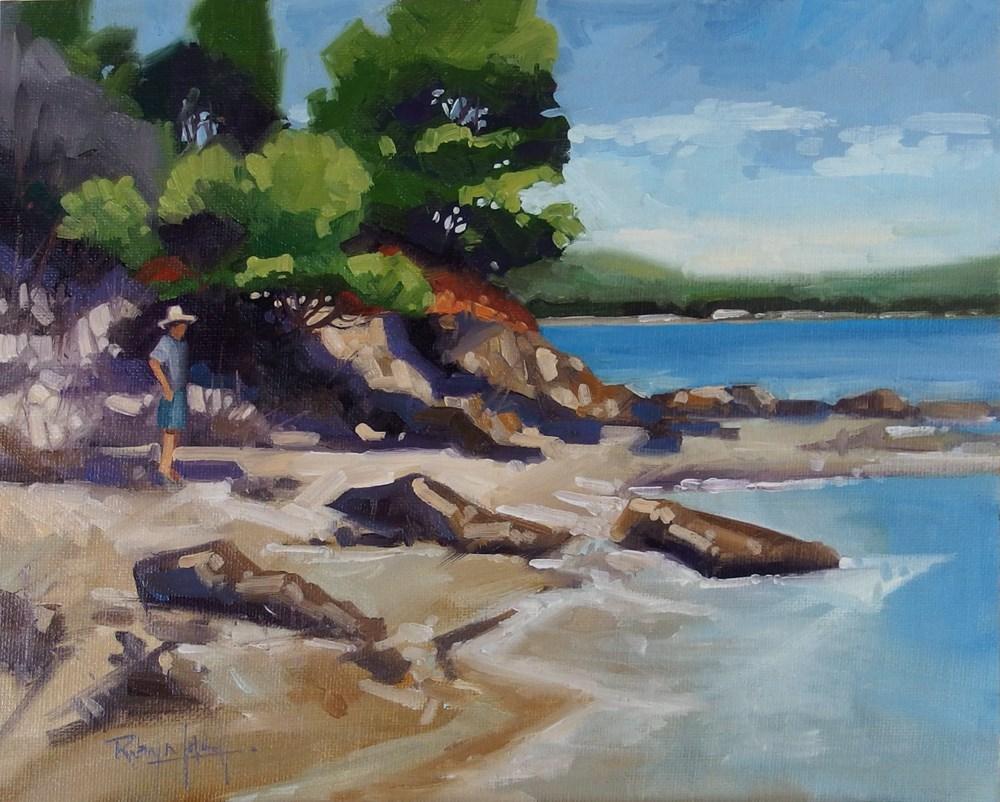 """No 694 On the Beach"" original fine art by Robin J Mitchell"