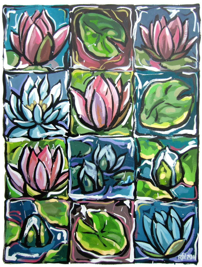 """""""12 squares of waterlily fun"""" original fine art by Roger Akesson"""
