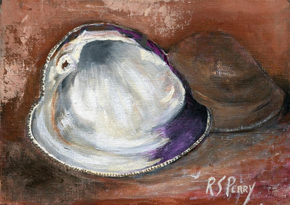 """""""Clam (Northern Quahog)"""" original fine art by R. S. Perry"""