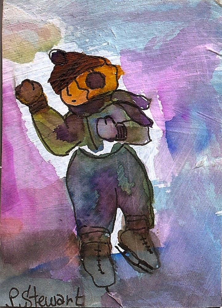 """ACEO Ice Skater"" original fine art by Penny Lee StewArt"