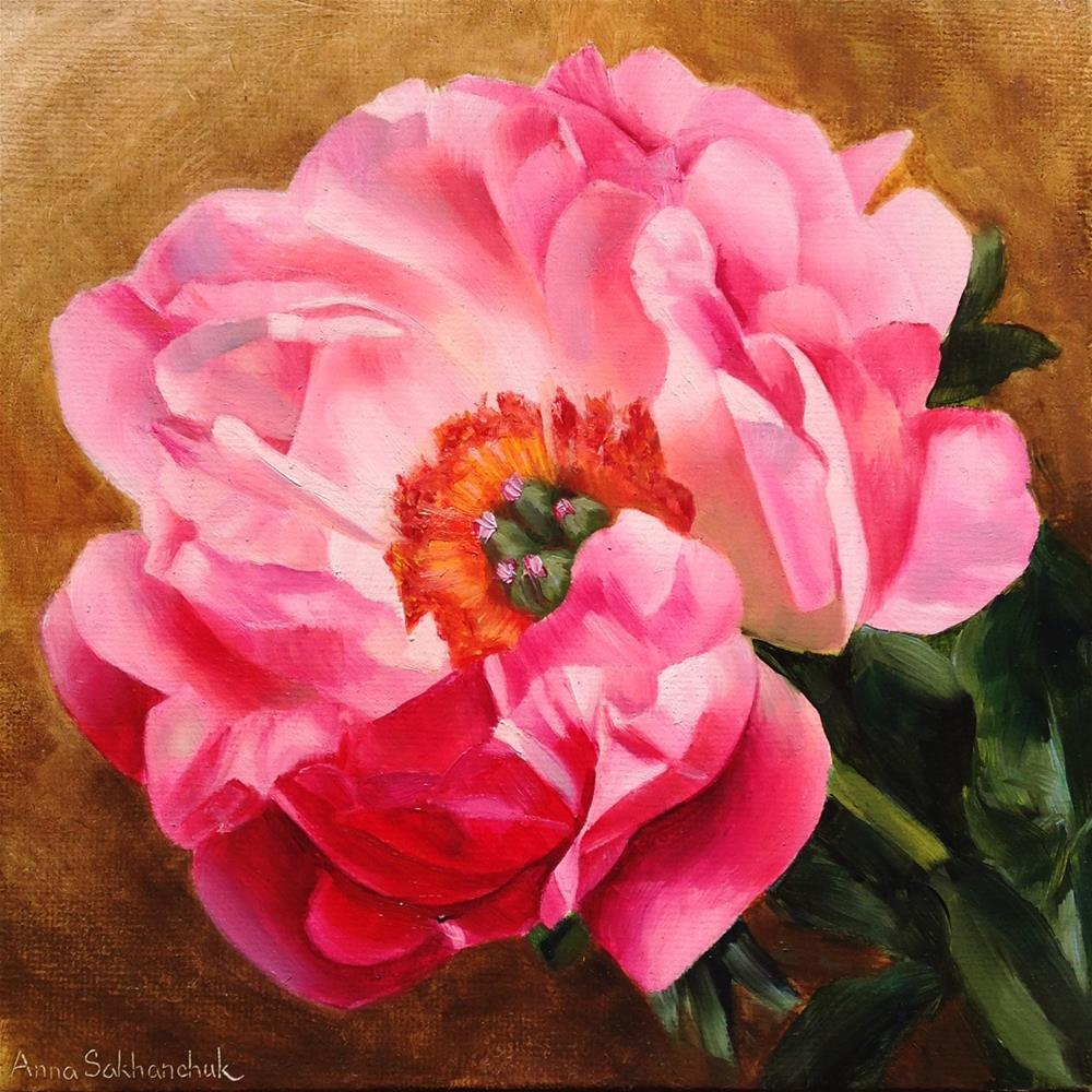 """Coral peony"" original fine art by Anna Sakhanchuk"