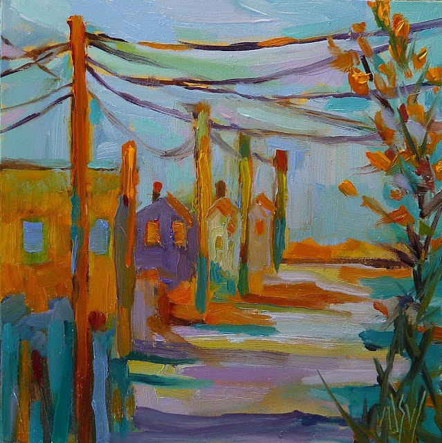 """""""Late December Light 4x4 oil on panel This is the view up my street towards the sea wall. Love the golden winter light."""" original fine art by Mary Sheehan Winn"""