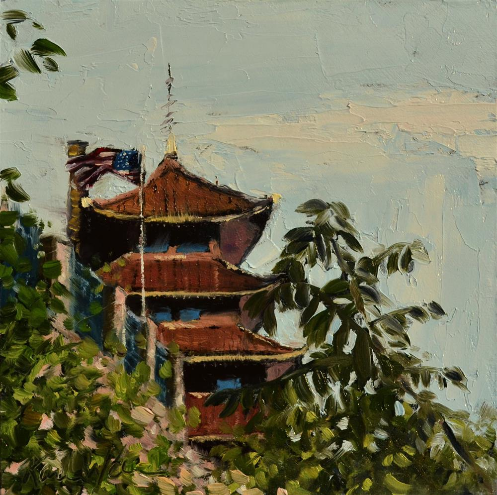 """The Reading Pagoda, in June"" original fine art by Karen Weber"