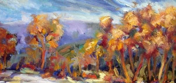 """Copse of Orange Trees"" original fine art by Allison Doke"