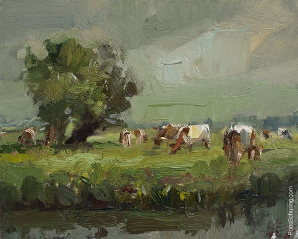 """""""Rainy Day, Willows and Brown Cows"""" original fine art by Roos Schuring"""