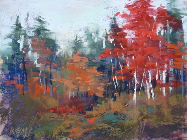 """Paint Autumn Trees: Quick Video Demo"" original fine art by Karen Margulis"