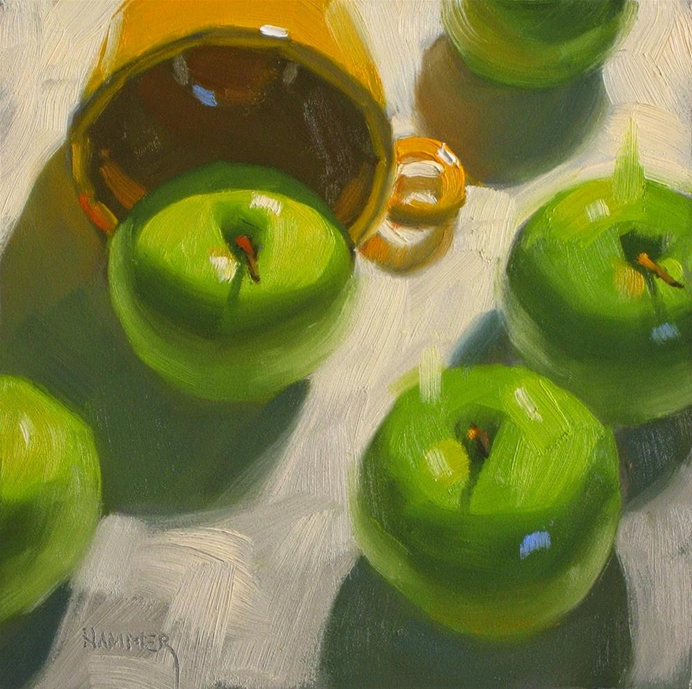 """""""5 apples and a cup 6 x 6  oil"""" original fine art by Claudia Hammer"""