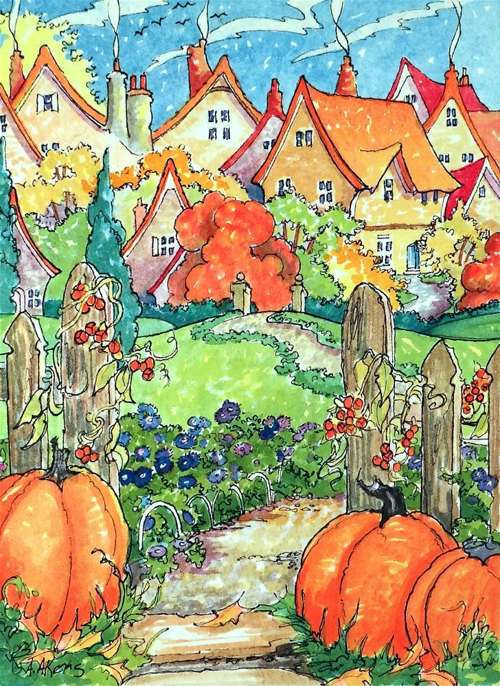 """""""Autumn on the Village Green Storybook Cottage Series"""" original fine art by Alida Akers"""