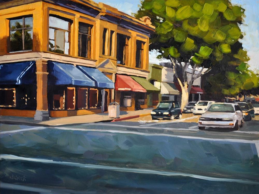 """""""Golden Storefronts - 9x12"""" original fine art by Sharon Schock"""