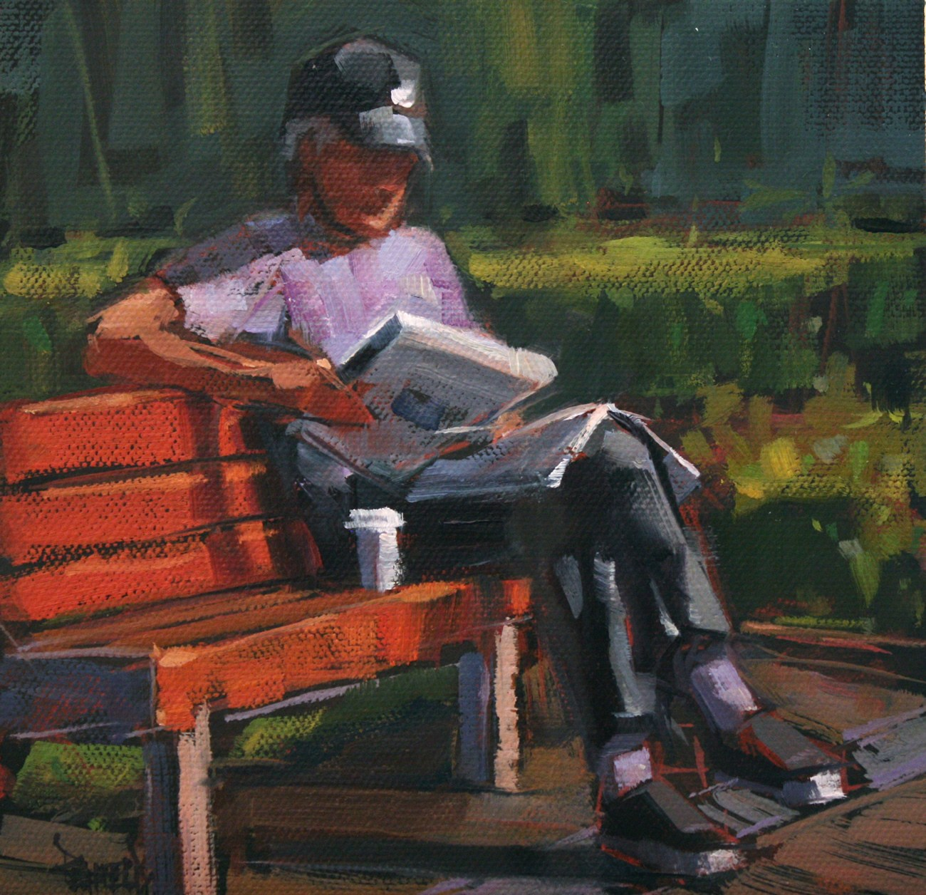 """Reading the Newspaper"" original fine art by Cathleen Rehfeld"
