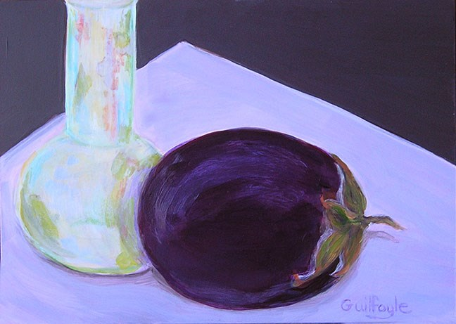 """""""Ancient Egyptian Glass Vessel with Aubergine"""" original fine art by Maud Guilfoyle"""