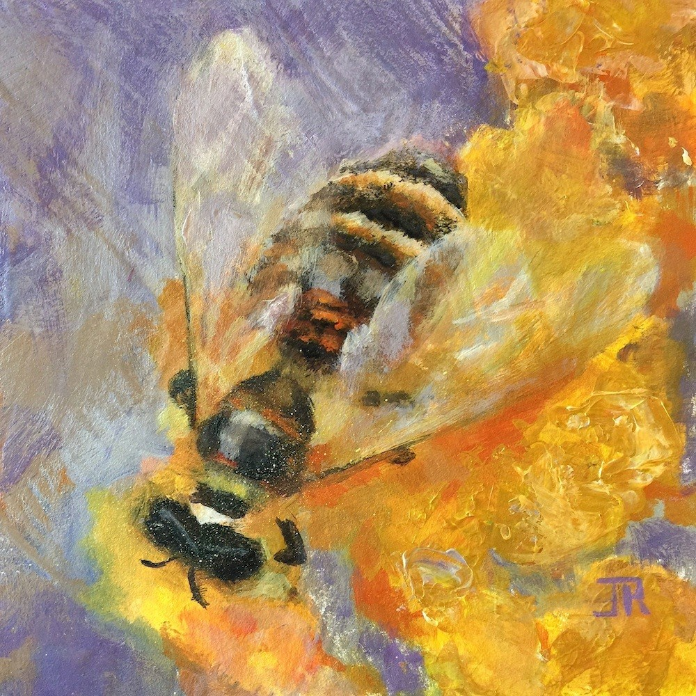 """For The Love Of Bees - Signs Of Spring Challenge"" original fine art by June Rollins"