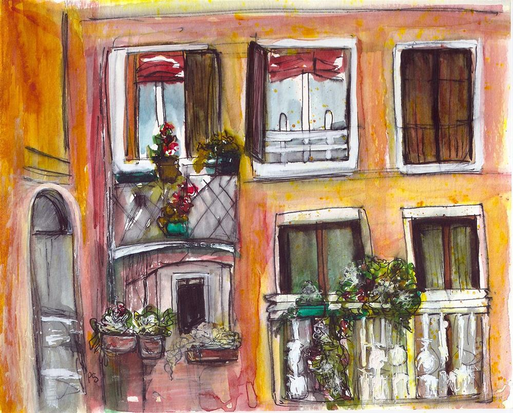"""8x10 Balconies and Flowers Building Facade Watercolor Penny Stewart"" original fine art by Penny Lee StewArt"