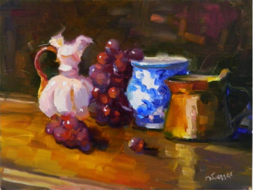 """Grapes and Old Treasures, 9x12, still life, brass ,bottle, milk glass, grapes"" original fine art by Maryanne Jacobsen"