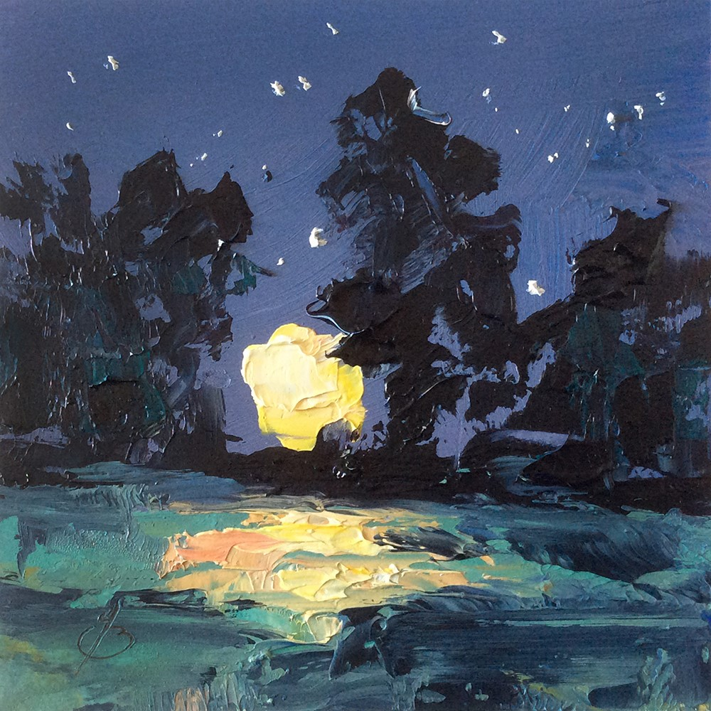 """FULL MOON"" original fine art by Tom Brown"