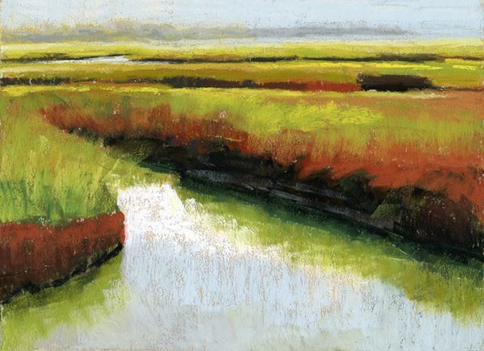 """Cape Cod Salt Marsh pastel painting"" original fine art by Ria Hills"
