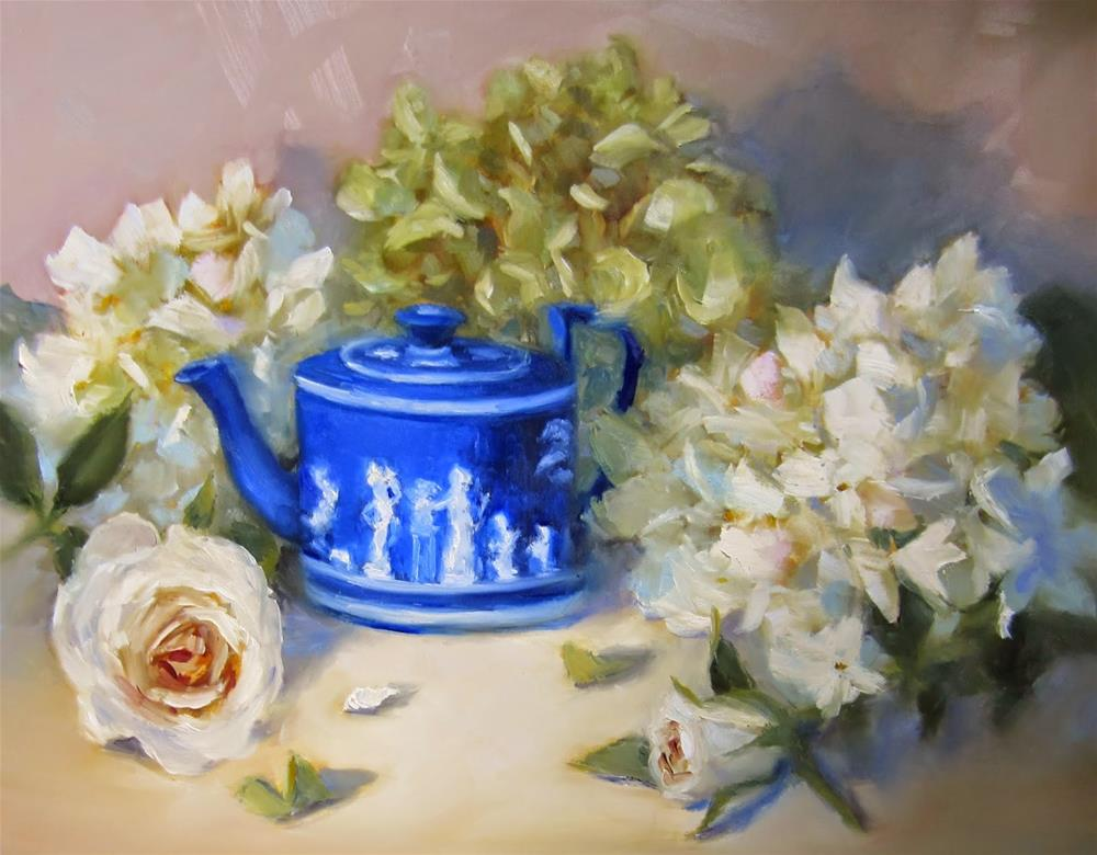 """""""Wedgwood and Whites"""" original fine art by Pat Fiorello"""