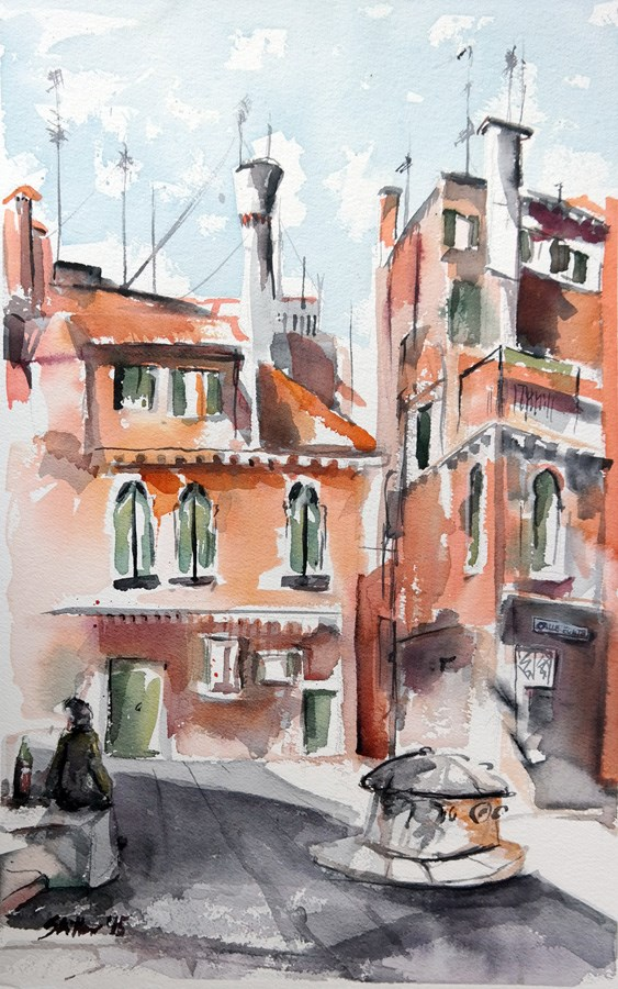 """1366 The Red House"" original fine art by Dietmar Stiller"