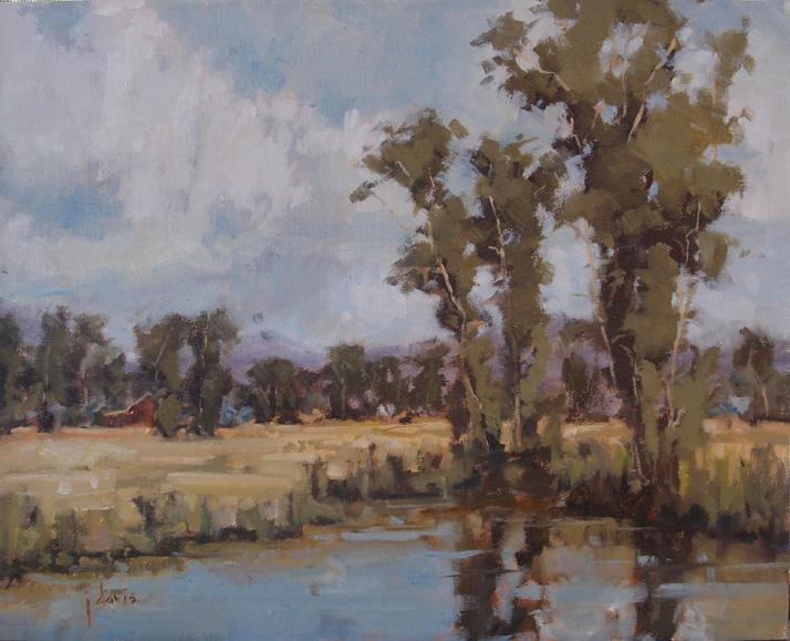"""Seasonal Pond"" original fine art by Julie Davis"