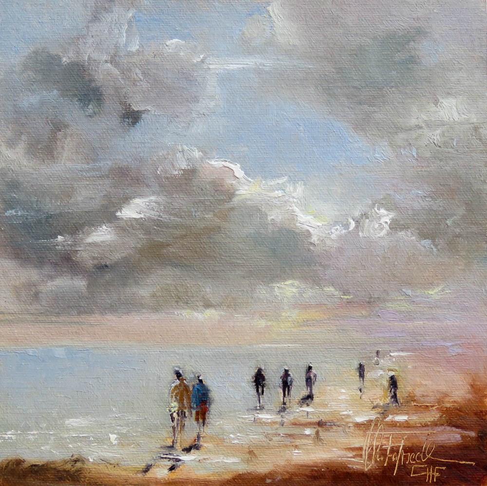 """Walking at the Beach"" original fine art by Christa Friedl"