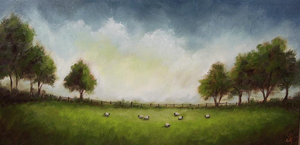 """Field with Sheep"" original fine art by Jane Palmer"