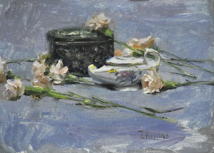 """still life in blues"" original fine art by Taisia Kuklina"