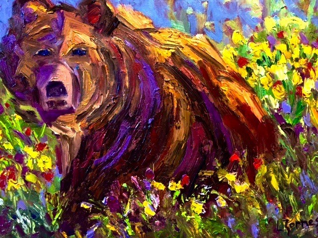 """Bear Among Spring Flowers"" original fine art by Liz Zornes"