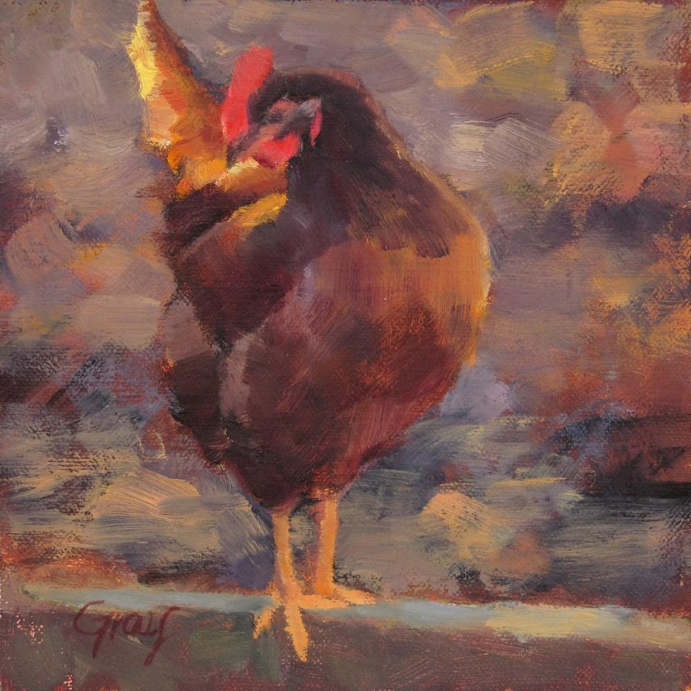 """""""Nikki the Chicken"""" original fine art by Naomi Gray"""