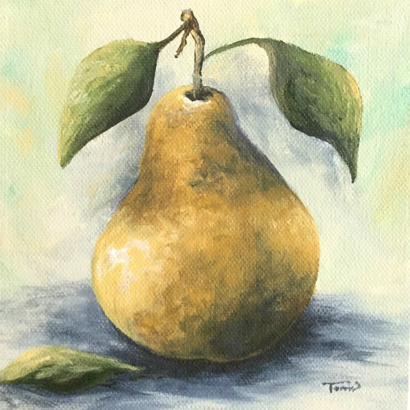 """""""Gold September Pear"""" original fine art by Torrie Smiley"""