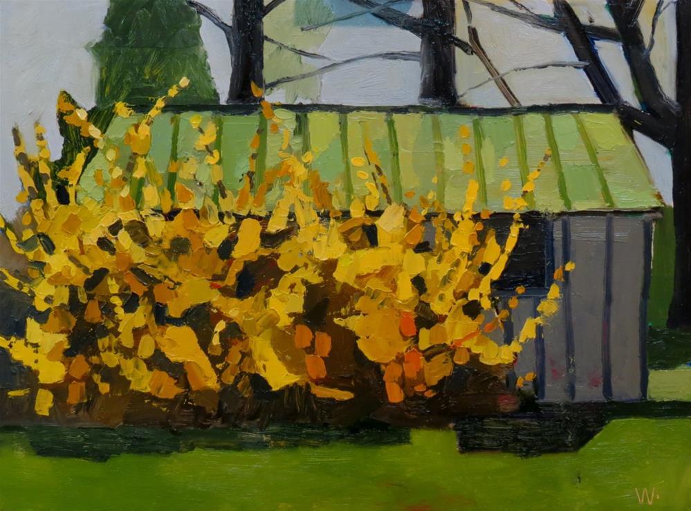 """Forsythia"" original fine art by Joan Wiberg"