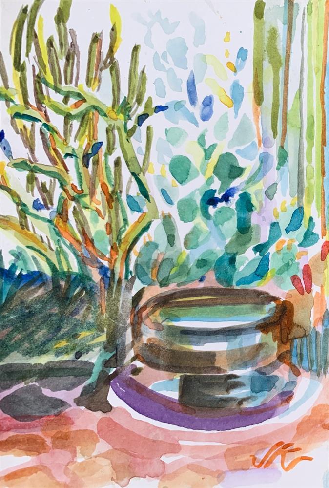 """""""Fountain"""" original fine art by Jean Krueger"""