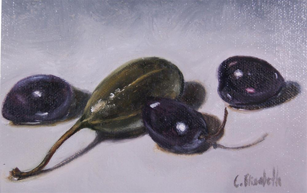 """Caper-berry and Olives Still Live"" original fine art by Carolina Elizabeth"