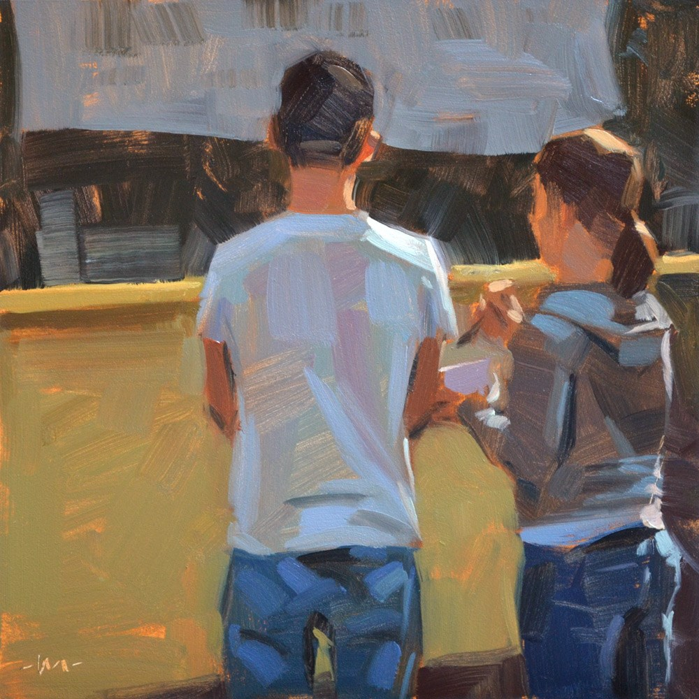 """""""First Date at the Food Stand"""" original fine art by Carol Marine"""