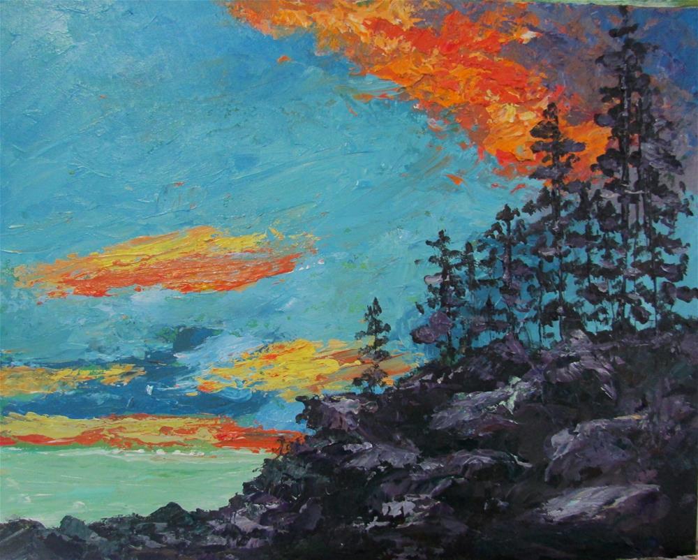 """8 x 10 inch acrylic Top of the Cliff"" original fine art by Linda Yurgensen"
