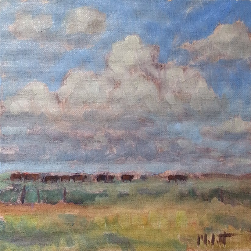 """Ranch Landscape Cow Pasture Original Oil Painting Impressionism 8x8"" original fine art by Heidi Malott"