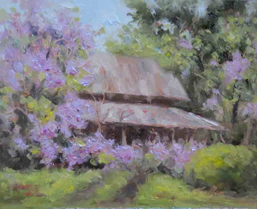 """Wisteria Barn"" original fine art by Pat Fiorello"